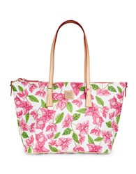 Dooney And Bourke Bougainvillea Coated Cotton Tote White Floral