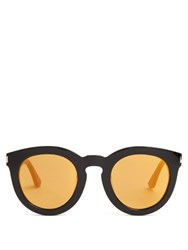 Saint Laurent Round Mirrored Acetate Sunglasses Black Gold