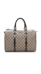 Wgaca Gucci Canvas Boston Bag Brown