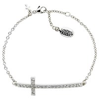 Cachet Long Cross Swarovski Crystal Chain Bracelet Silver