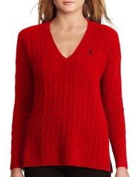 Polo Ralph Lauren Cable Wool Cashmere Sweater Martin Red