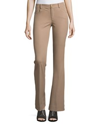 Minnie Rose Flare Leg Stretch Twill Pants Taupe Brown