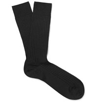 Marcoliani Ribbed Merino Wool Blend Socks Black