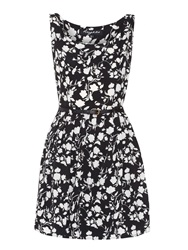 Mela Loves London Flower And Bird Print Prom Dress Black