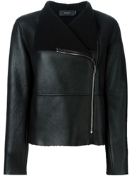Joseph Off Centre Fastening Shearling Jacket Black