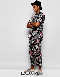 Reclaimed Vintage Floral Beach Trousers Co Ord Navy