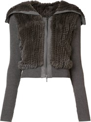 Elie Tahari Zipped Ribbed Jacket Grey