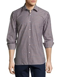 Luciano Barbera Check Woven Shirt Brown Black White