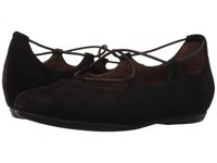 Essen Earthies Black Suede Women's Flat Shoes