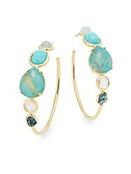 Ippolita Rock Candy Semi Precious Multi Stone And 18K Yellow Gold Gelato Doublet Hoop Earrings 1.5