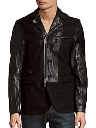 Dsquared Leather And Wool Zip Front Jacket Very Black