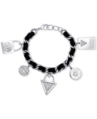 Guess Silver Tone Faux Suede And Pave Charm Bracelet