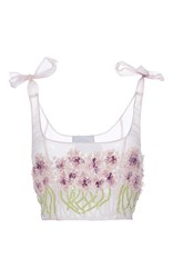 Luisa Beccaria Organza Embroidered Allium Top Purple