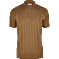 River Island Mens Light Brown Ribbed Muscle Fit Polo Shirt