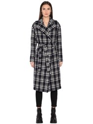 Tagliatore Double Breasted Plaid Boiled Wool Coat