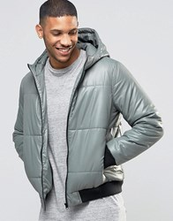 Asos Quilted Bomber Jacket With Hood In Green Green