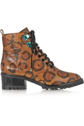 Sophia Webster Roxy Leopard Print Textured Leather Ankle Boots Leopard Print