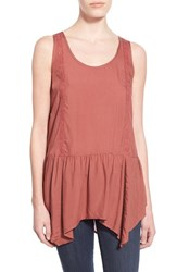 Junior Women's Sun And Shadow Drop Waist Ruffle Tank Red Jelly