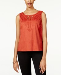 American Rag Embroidered Faux Suede Top Only At Macy's Burnt Orange