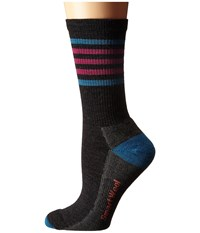 Smartwool Striped Hike Light Crew Charcoal Berry Women's Crew Cut Socks Shoes Pink