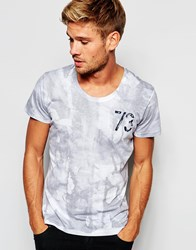 Pepe Jeans Pepe T Shirt 73 Louis Slim Fit Scoop Neck All Over Subtle Print White