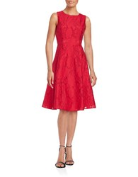Tommy Hilfiger Sleeveless Floral Jacquard Fit And Flare Dress Scarlet