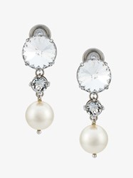 Miu Miu Crystal And Pearl Drop Earrings Silver Pearl