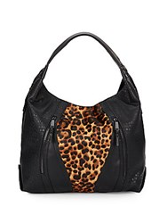 French Connection Ollie Calf Hair And Patent Tote Bag Black Leopard