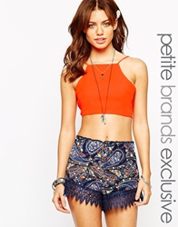 Glamorous Petite Halterneck Crop With Tie Bow Back Orange