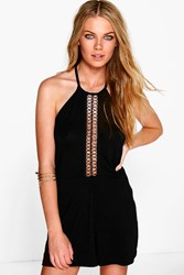 Boohoo Crochet Trim Cut Away Shoulder Playsuit Black