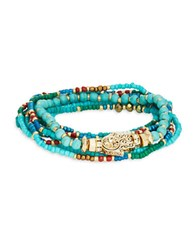Design Lab Lord And Taylor Beaded Stretch Bracelet Turquoise