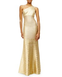 Herve Leger One Shoulder Bandage Knit Gown Gold