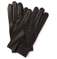 Berluti Silk Lined Leather Gloves Brown