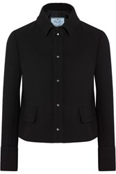 Prada Cropped Wool Crepe Jacket Black
