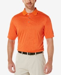 Pga Tour Men's Heathered Golf Polo Shirt Medium Orange