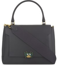 Anya Hindmarch Bathurst Space Invaders Leather Satchel Charcoal