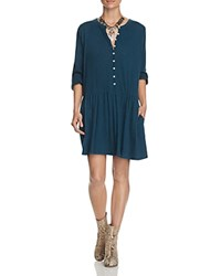 Free People Button Up Dress Blue Green