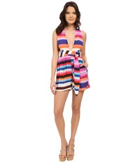 Mara Hoffman Rayon Wrap Top Romper Bubble Gum Women's Jumpsuit And Rompers One Piece Pink