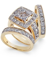 Macy's Diamond Cluster 3 Pc. Bridal Set 4 Ct. T.W. In 14K Gold Yellow Gold