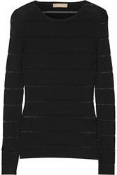 Michael Kors Sheer Striped Ribbed Merino Wool Blend Sweater Black