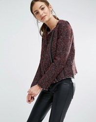 Boss Orange Okarli Boucle Tweed Look Side Zip Jacket Burgundy Red