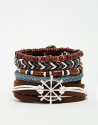 Asos Leather Bracelet Pack With Nautical Charm Brown