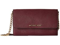 Michael Michael Kors Jet Set Travel Large Phone Crossbody Plum Cross Body Handbags Purple