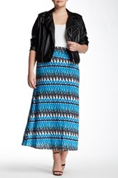 Loveappella Printed Maxi Skirt Plus Size Blue