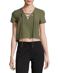 Catherine Malandrino Short Sleeve Lace Up Crop Blouse Green