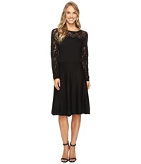 Vince Camuto Long Sleeve Burnout Flare Sweater Dress Rich Black Women's Dress
