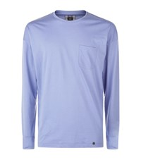 Hanro Long Sleeve Cotton Lounge Top Male Blue