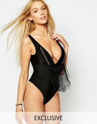 Wolf And Whistle Plunge Trim Swimsuit B F Cup Black