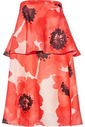 Lela Rose Tiered Floral Print Silk Gazar Dress