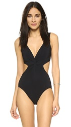 Karla Colletto V Neck Underwire Swimsuit Black